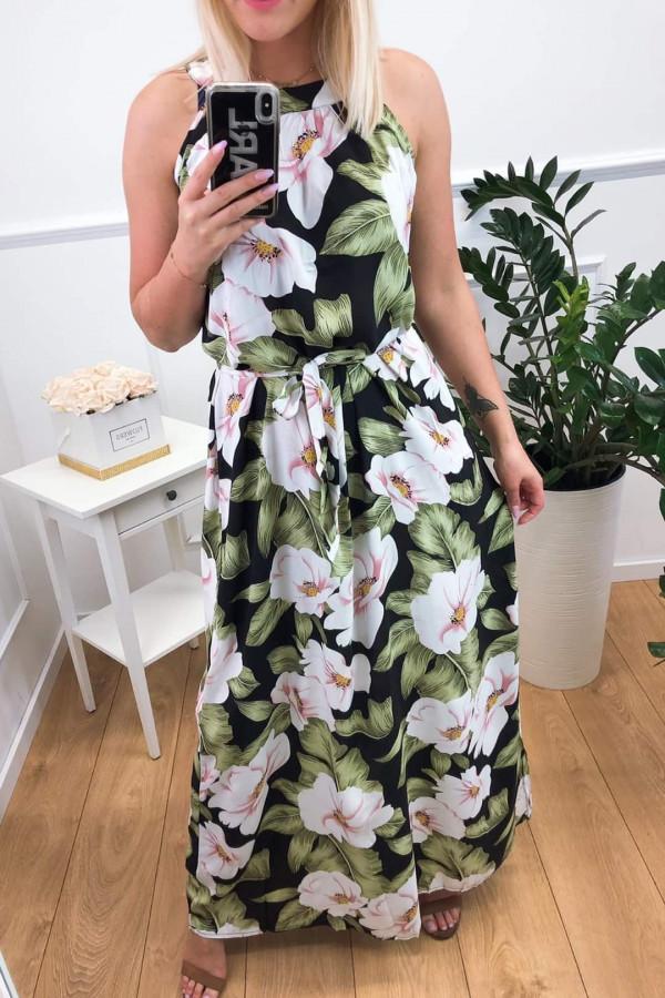 Sukienka PINK BIG FLOWERS Miss Sara Maxi 2