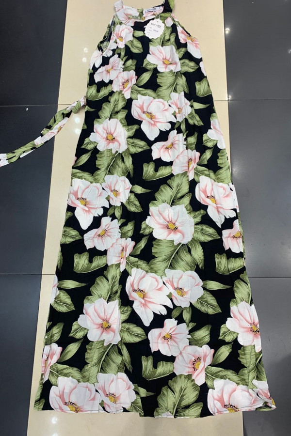 Sukienka PINK BIG FLOWERS Miss Sara Maxi 1