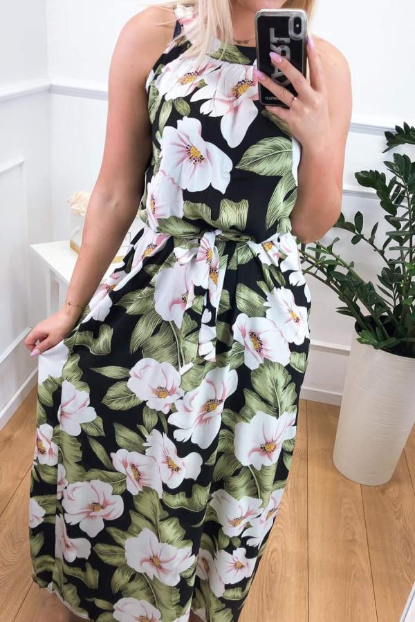 Sukienka PINK BIG FLOWERS Miss Sara Maxi 3