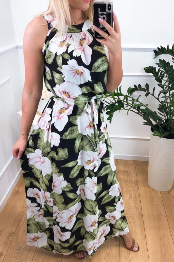 Sukienka PINK BIG FLOWERS Miss Sara Maxi 4