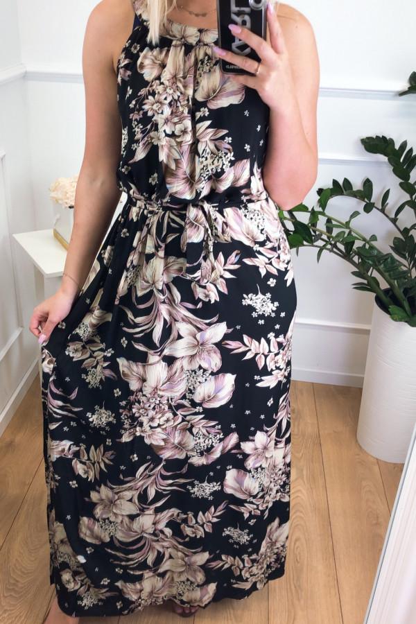 Sukienka BEIGE BIG FLOWERS Miss Sara Maxi 1