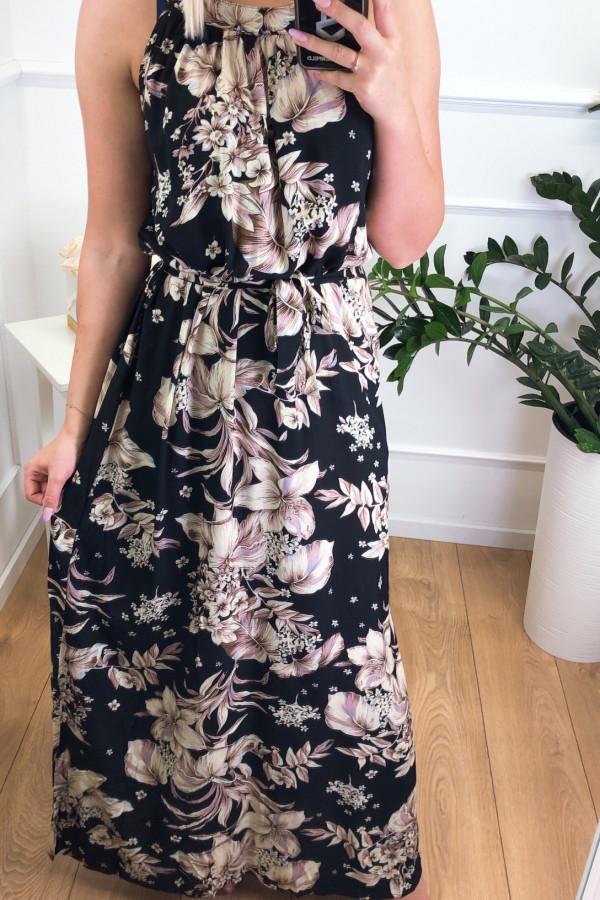 Sukienka BEIGE BIG FLOWERS Miss Sara Maxi 2