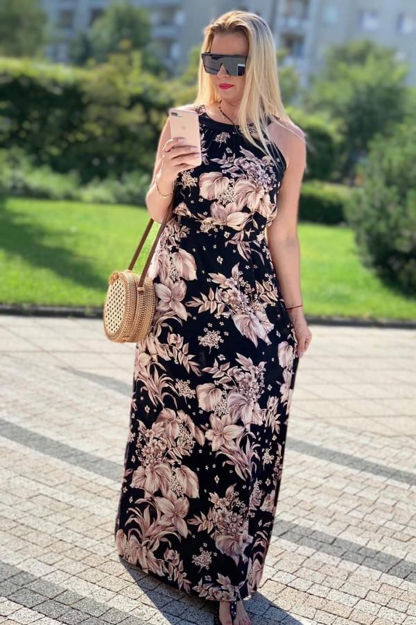 Sukienka BEIGE BIG FLOWERS Miss Sara Maxi
