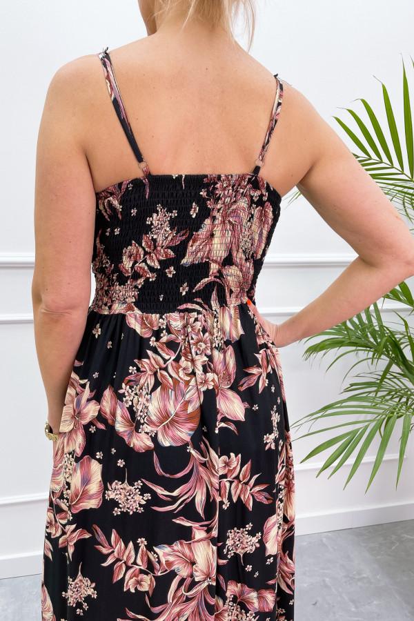 Sukienka BEIGE BIG FLOWER Miss Sara Slim 10