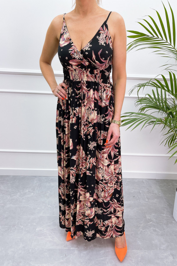 Sukienka BEIGE BIG FLOWER Miss Sara Slim 11