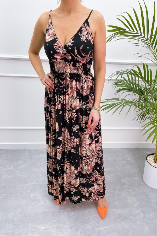 Sukienka BEIGE BIG FLOWER Miss Sara Slim 12