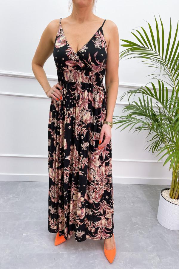 Sukienka BEIGE BIG FLOWER Miss Sara Slim 13