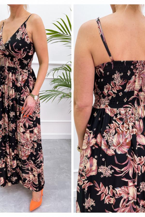 Sukienka BEIGE BIG FLOWER Miss Sara Slim 14