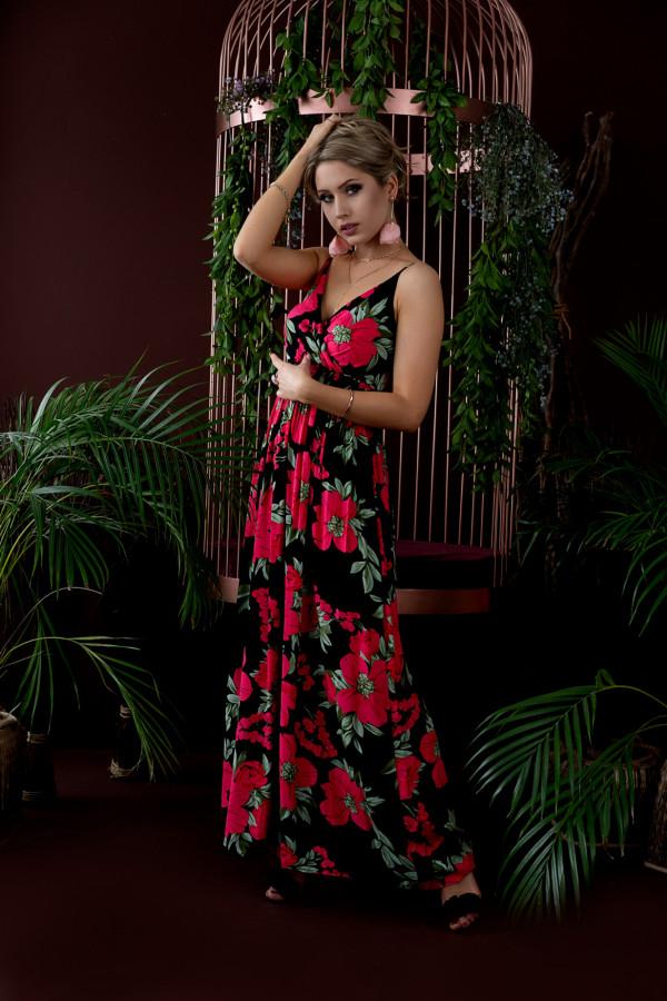 Sukienka RED BIG FLOWER Miss Sara Slim 1