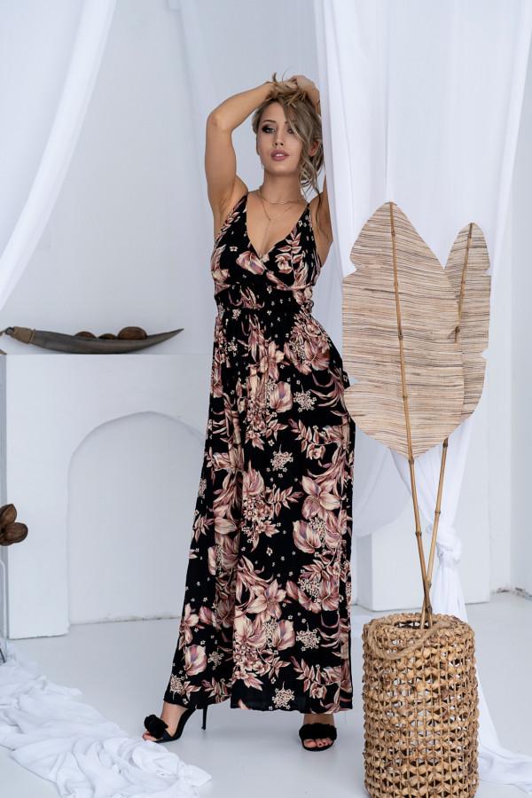 Sukienka BEIGE BIG FLOWER Miss Sara Slim 5