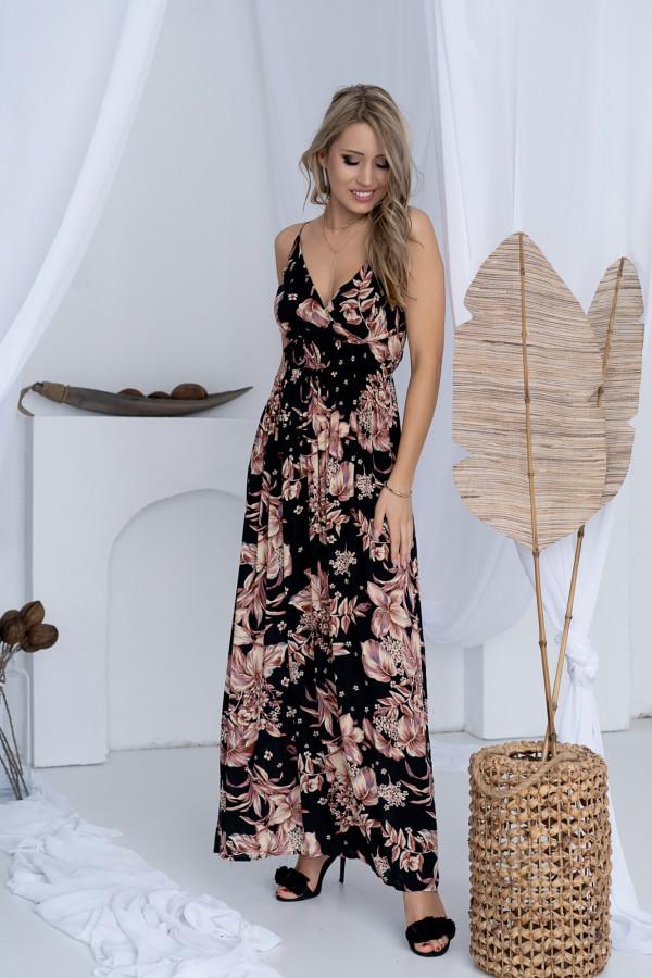 Sukienka BEIGE BIG FLOWER Miss Sara Slim 8