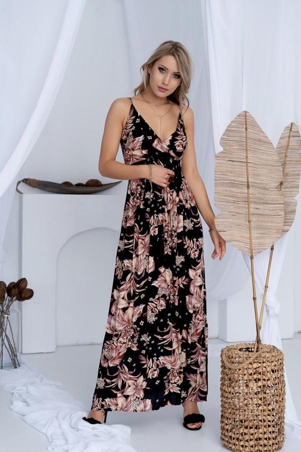 Sukienka BEIGE BIG FLOWER Miss Sara Slim 4