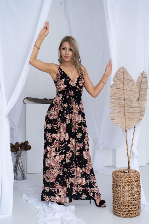 Sukienka BEIGE BIG FLOWER Miss Sara Slim 7