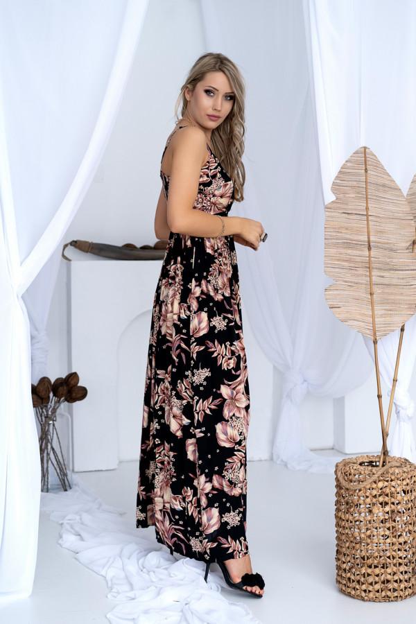 Sukienka BEIGE BIG FLOWER Miss Sara Slim 9