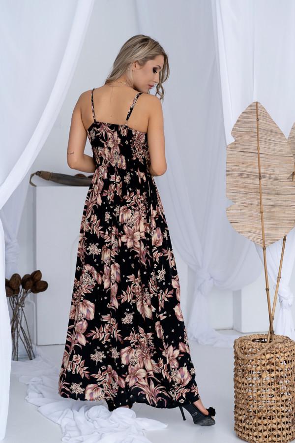 Sukienka BEIGE BIG FLOWER Miss Sara Slim 2