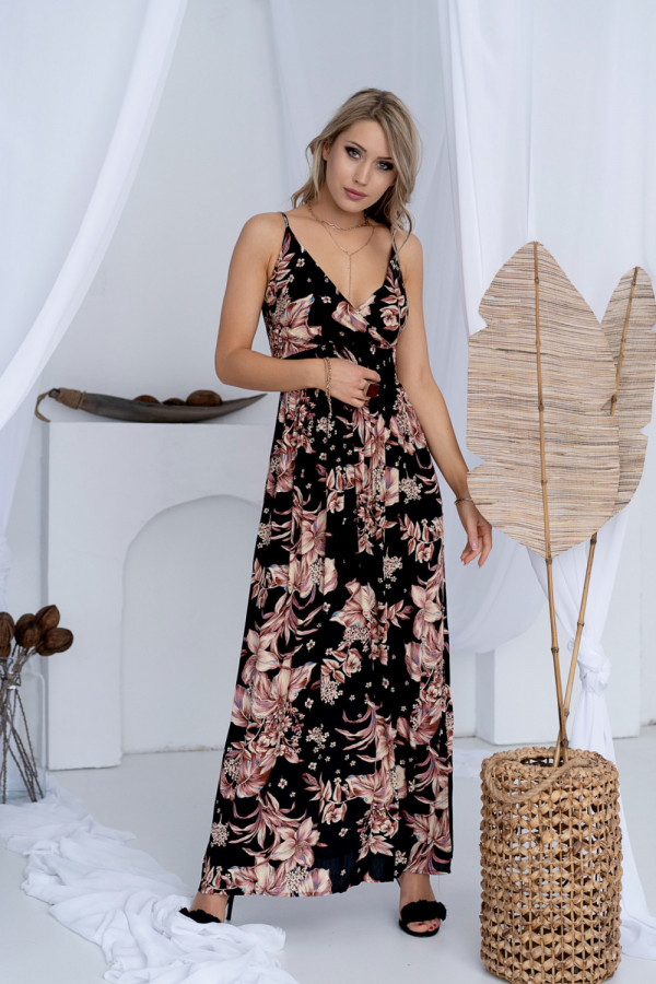 Sukienka BEIGE BIG FLOWER Miss Sara Slim