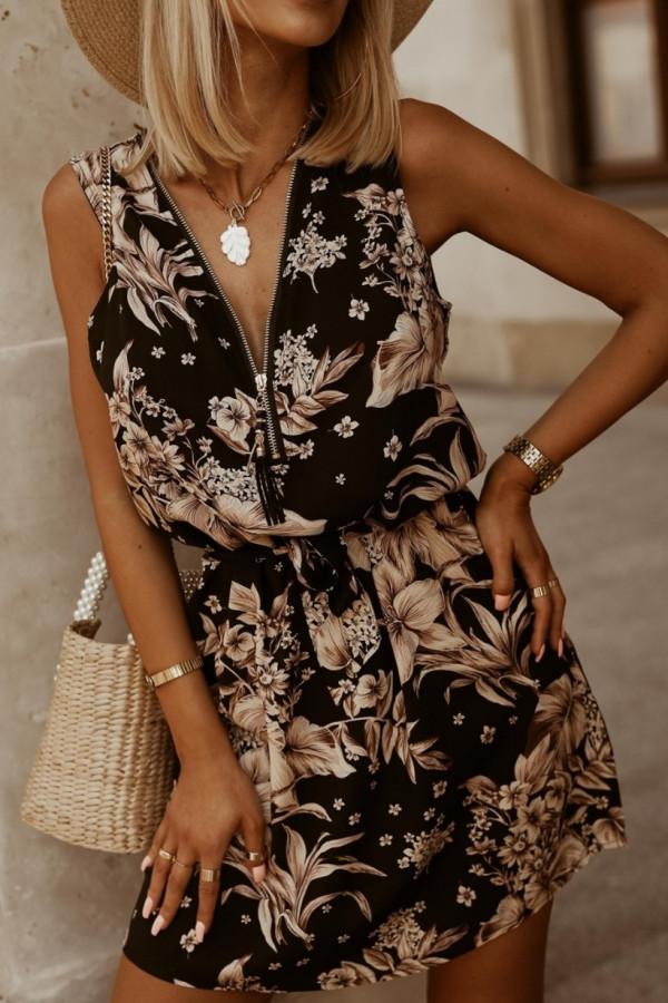 Sukienka BEIGE BIG FLOWERS Miss Sara Zip